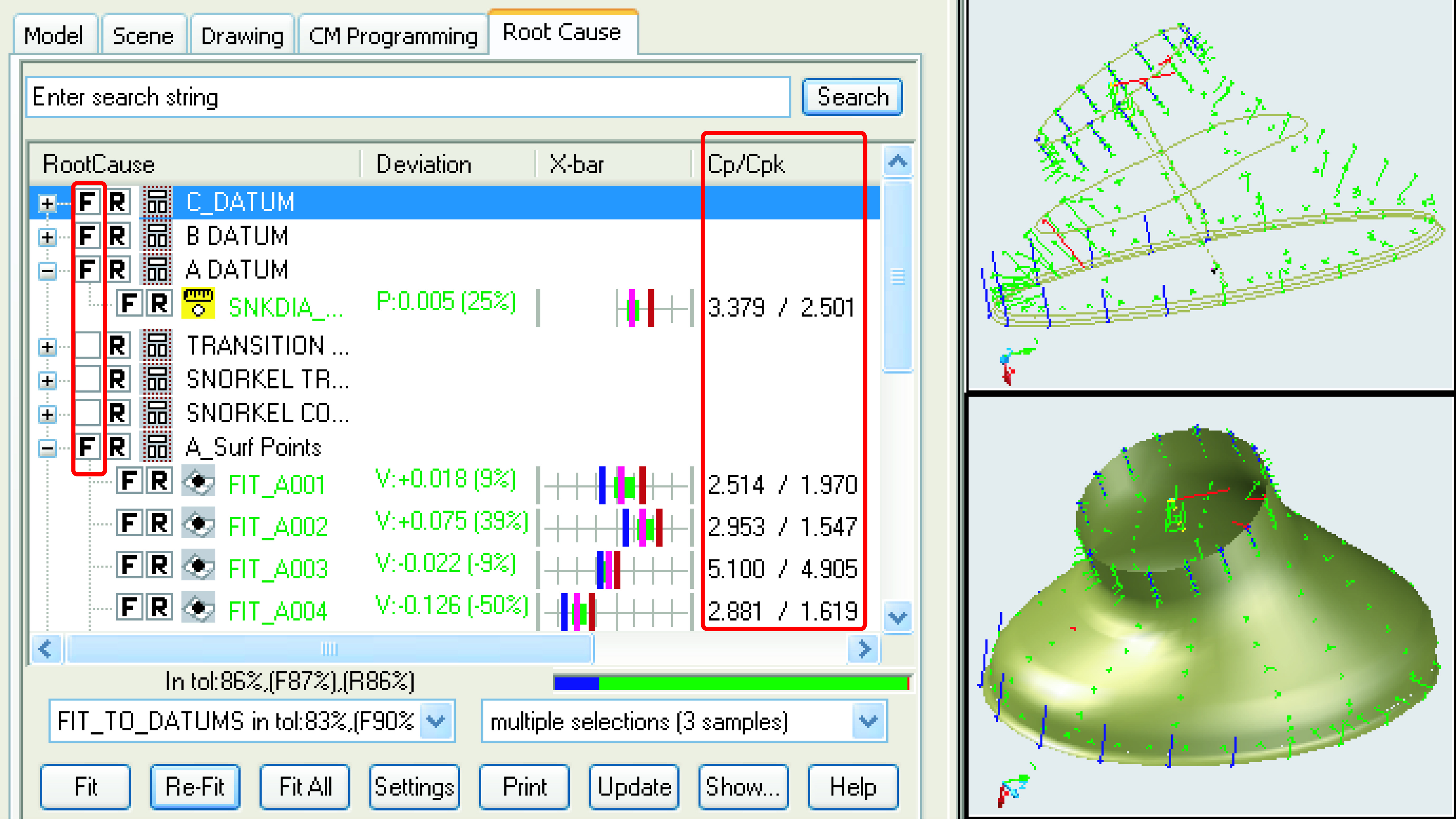 "Figure 2. The ""F""s in this screen grab show Launch-Rite's fitting algorithm in use. This cuts the time-consuming process of resolving conflicts between CMM or scanner data and gage results.(Click on screen shot to enlarge it)"