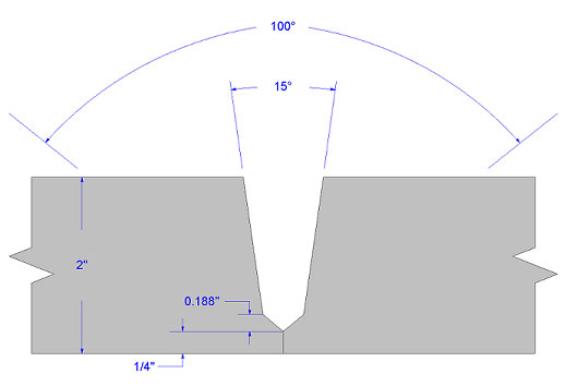 Figure 6. Example of a compound bevel groove weld joint.(Click on illustration to enlarge it)