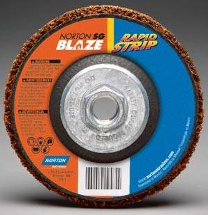 The new Blaze Rapid Strip wheel is an upgraded version of the traditional black stripping product. Unlike its black silicon carbide counterpart, it uses ceramic alumina grain for longer life and faster stripping, cleaning, and blending.