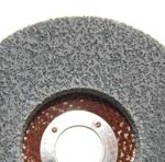 Finishing wheels use a much tighter weave that is excellent for removing light welds, deburring rough metal edges, and blending/cleaning all metal surfaces. The abrasive grain of choice for most metalworking operations is medium and fine grit aluminum oxide, used for metal removal and deburring. Very fine silicon carbide is recommended for light pressure finishing operations.
