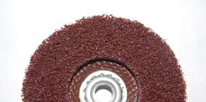 The prepping wheel uses a more open weave of the non-woven material that is ideal for surface preparation, cleaning, and finishing. Prepping wheels are available in a depressed center wheel configuration with a fiberglass back- up pad or, when more conformability is needed, as a disc that attaches to a rubber back up pad.