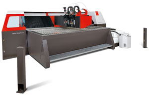 The ByJet Smart waterjet from Bystronic uses CNC metering of the abrasive garnet sand to reduce consumables to minimum requirements.