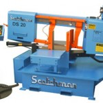 The DS-20 double swing 20 in band saw from Scotchman swings 45 deg right or 60 deg left and uses hydraulic clamping and head lift that combine for semi-automatic cycle control.