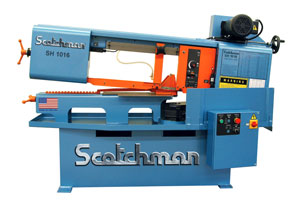 The SH1016 swing head band saw from Scotchman has radius band blade doors for greater strength, built-in forklift slots, band door interlocks and a larger coolant tank.