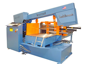 The large SHA 2131 automatic band saw from Scotchman combines mitering capability with an automatic barfeed system that utilizes an automatic shuttle-vise feed system to handle up to 60 in on a single stroke.