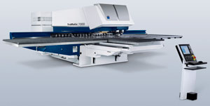 The TruMatic 7000 from Trumpf combines scratch-free punching and laser processing with the TruFlow 4 kW CO2 laser to process sheet metal up to 5/16 of an inch.