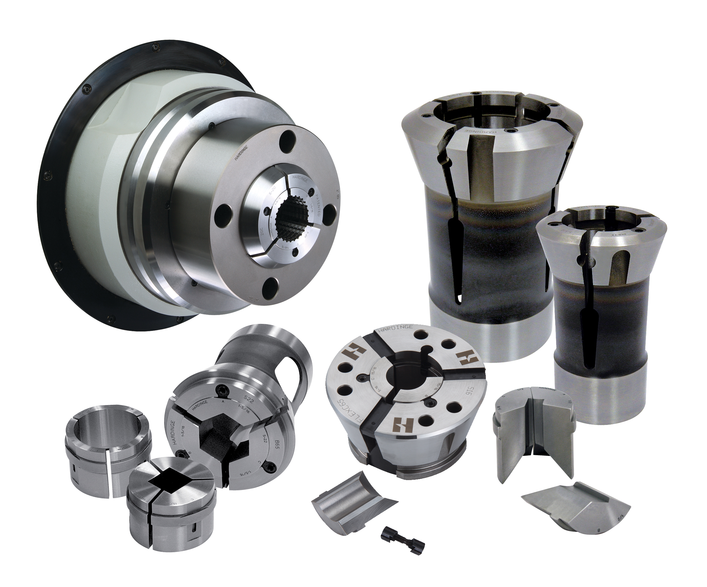 Inside your tool drawer, twelve sets of S-pads take up less space, cost less, and will change over faster than solid collets. The S-pads can be shared between the multi-spindles, the CNC spindles and collet blocks for vertical machining centers and are available in round, hexagon and square with smooth or serrated order holes, and special shapes.(click on image to enlarge it)