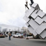 Here is a house-sized sculpture (in the form of a crouching man) created from welding together 57 stainless steel boxes using .394 in thick stainless plate being installed in the urban Alaskan grid of downtown Anchorage in 2010.(Photo courtesy of British sculptor Antony Gormley; click on image to enlarge it)