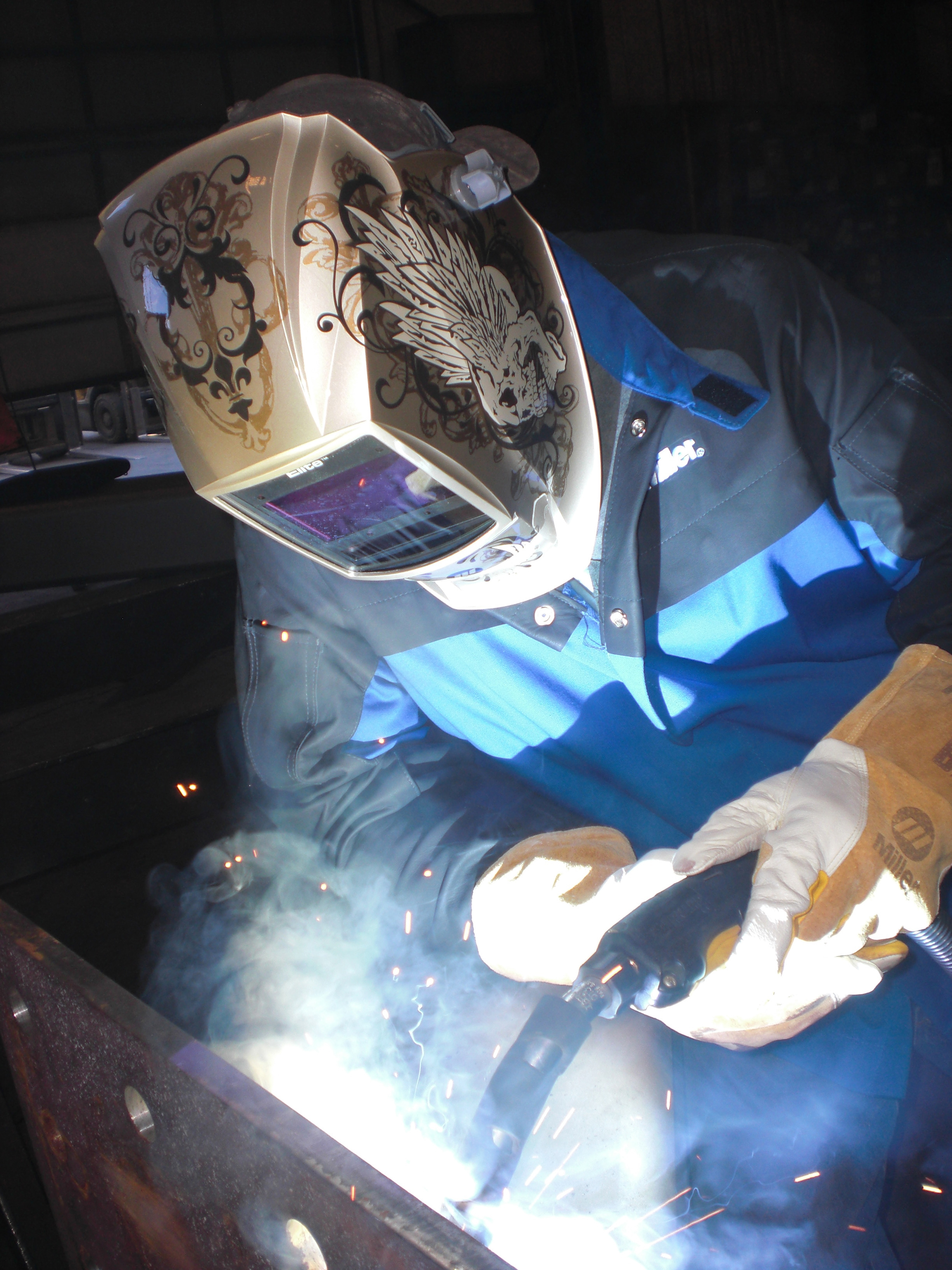 second time around is a charm fabricating and metalworking welding operator brian hubbard uses the 400 amp q gun mig gun centerfire consumables to complete welds on a current structural steel bridge project