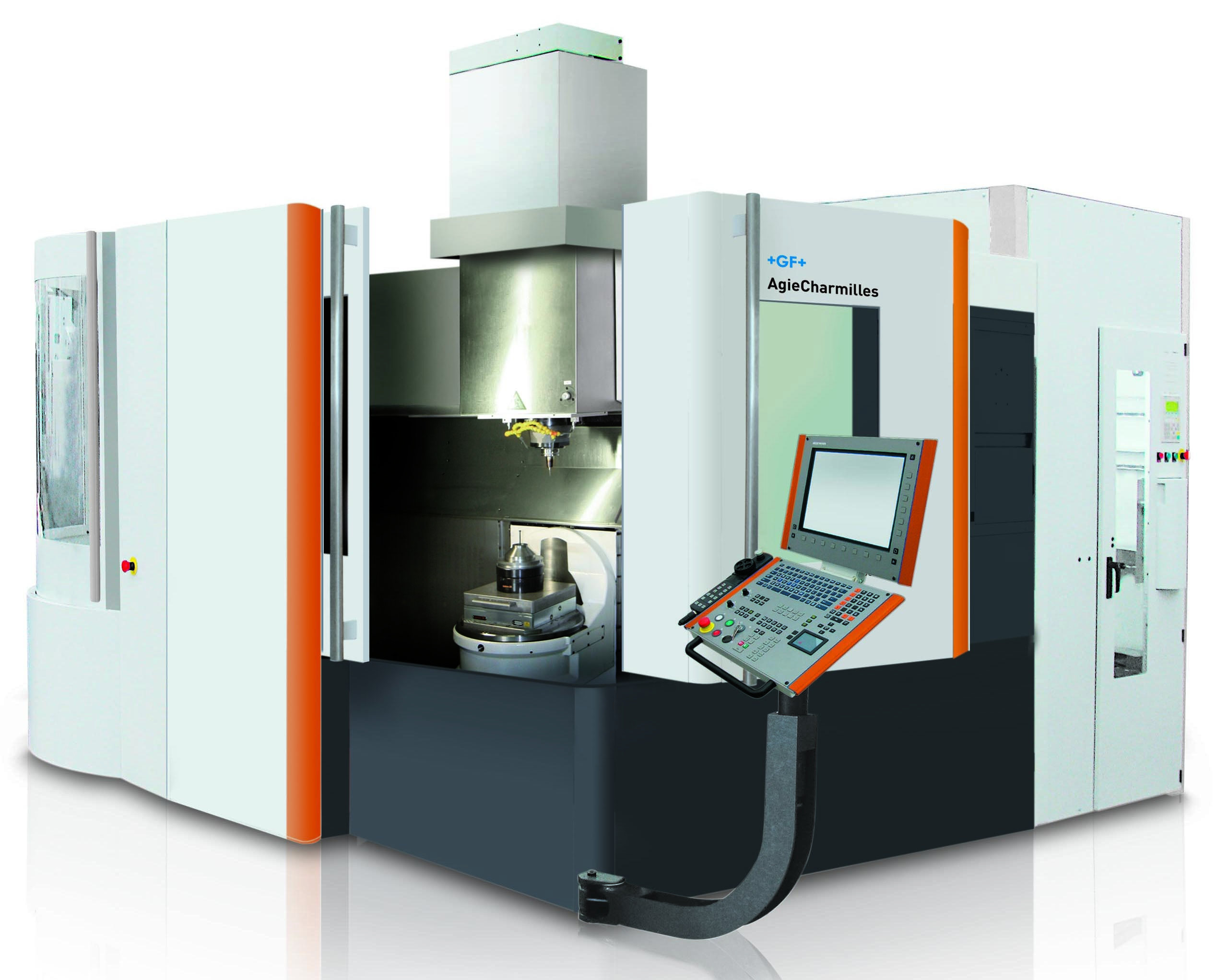 The Mikron HPM 450U 5-axis mill boasts a new torque rotary/tilt table for unencumbered, interference-free five-axis machining and offers highly efficient spindle options.(Click on photo to enlarge it)