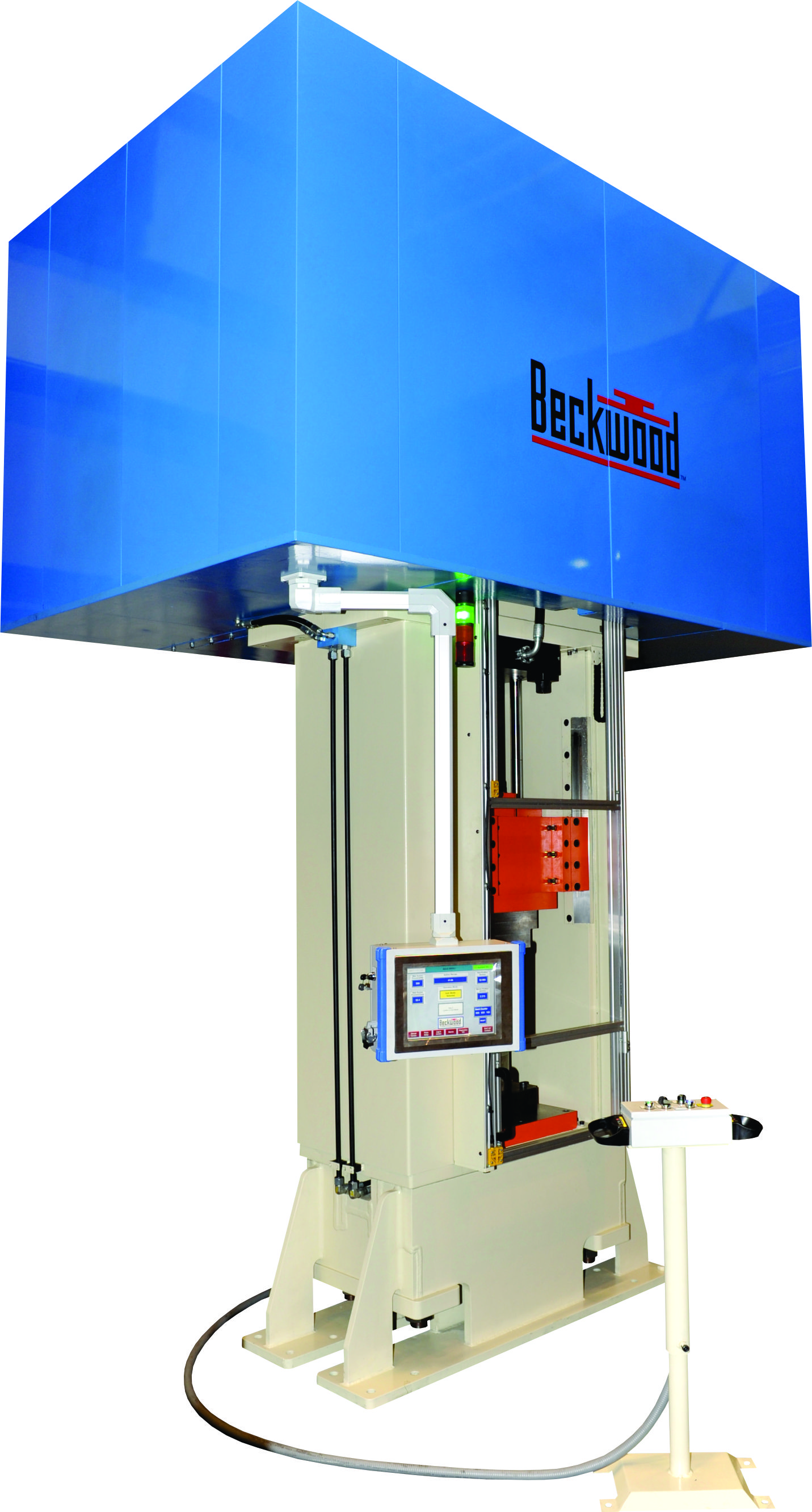 The ram on a hydraulic press built by Beckwood Press can use gib and post guidance or a different guidance method to account for the vast majority of potential customer applications.(Click on photo to enlarge it)