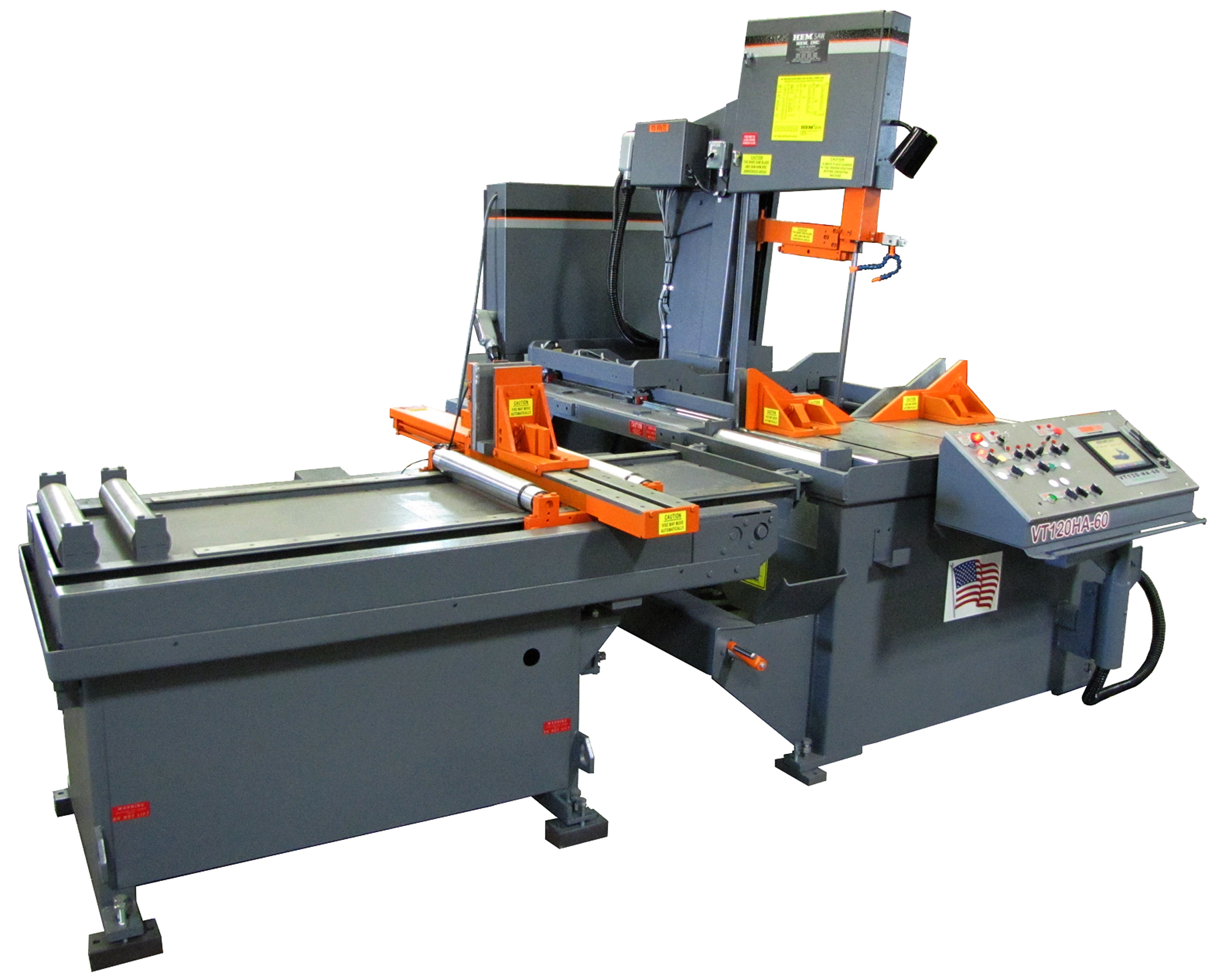 The VT120HA-60-TS automatic vertical bandsaw from HE&M Saw uses advanced flat panel touch screen controls. The saw has a cutting capacity of 18 in x 24 in H at 90 deg, 16 in H at 45 deg (left miter)/14.75 in H at 45 deg (right miter) and 10 in H at 60 deg (left miter)/9 in H at 60 deg (right miter). The saw uses a 1¼ in blade with an arm cant of 4 deg powered by a 7.5 hp motor and a 5 hp hydraulic system.(Click on photo to enlarge it)