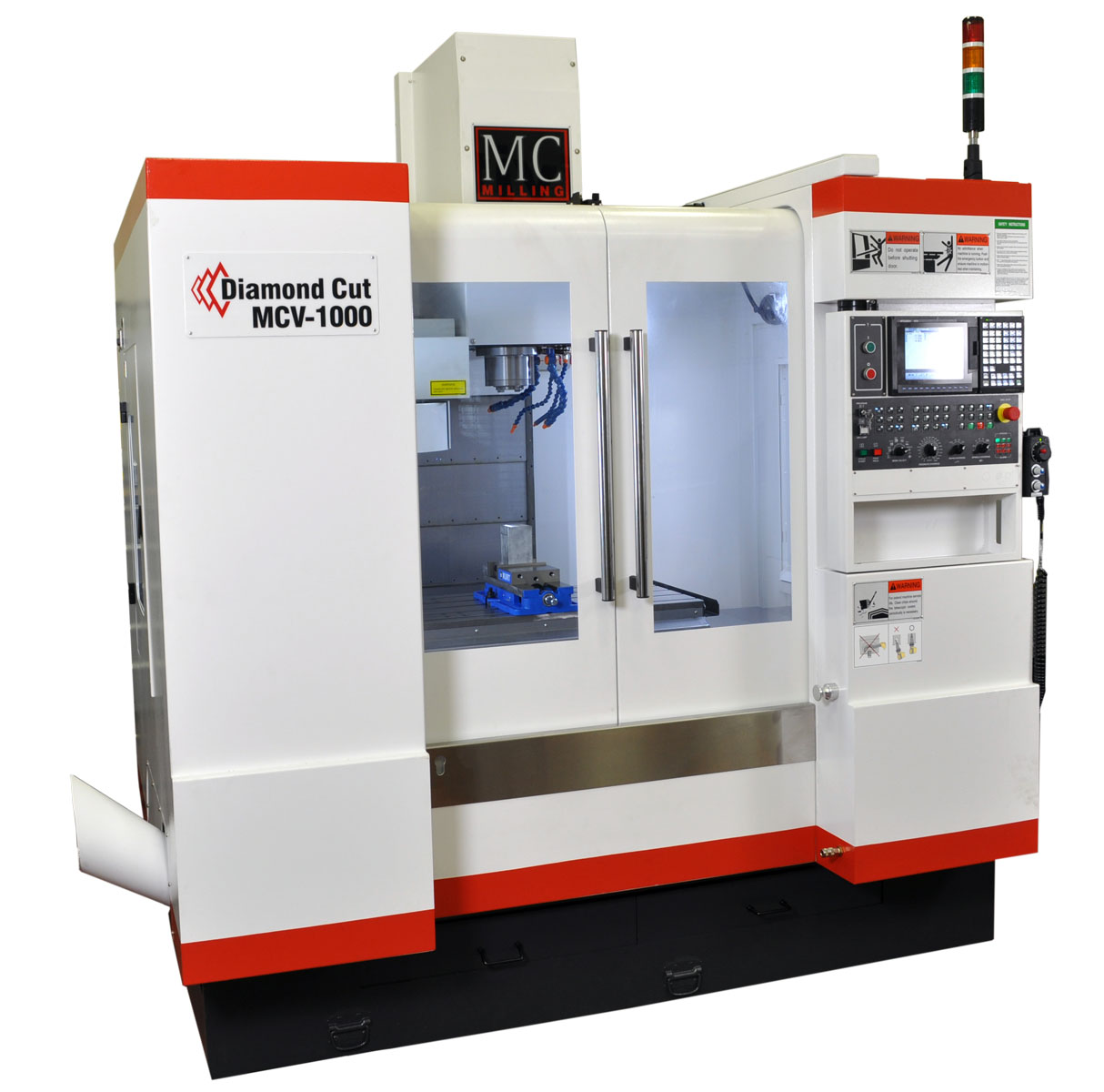 The MCV1000 vertical machining center from Mitsubishi is ideal for general purpose milling.(Click on photo to enlarge it)