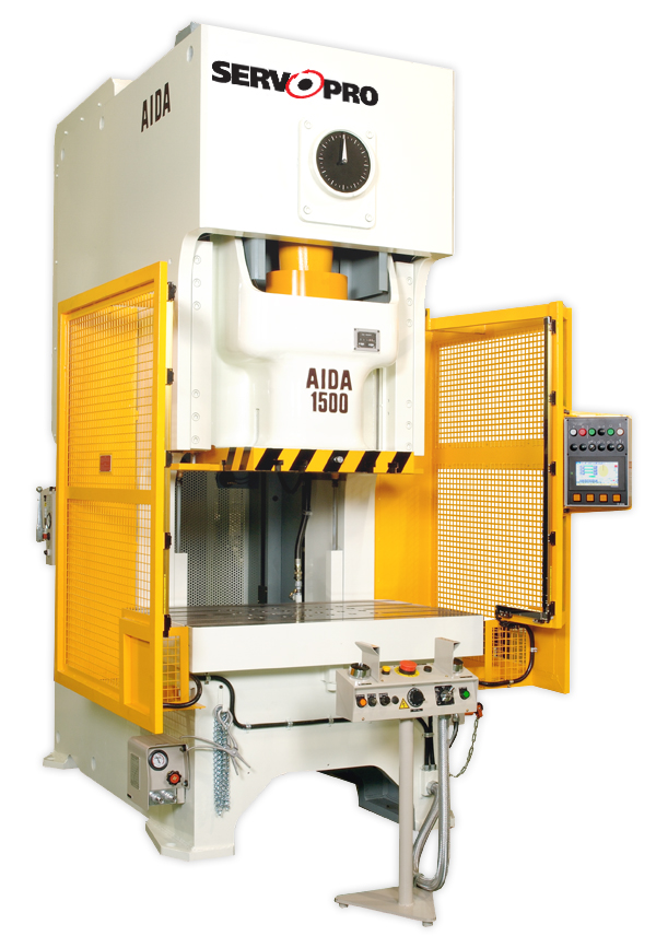 A DSF-C1-1500 Direct Drive Servo Former general purpose gap frame press from AIDA-America features infinitely programmable stroke profiles, high torque/low rpm servo motors, the ECO servo press power management system and advanced servo press controls including manual step feed.(Click on photo to enlarge it)