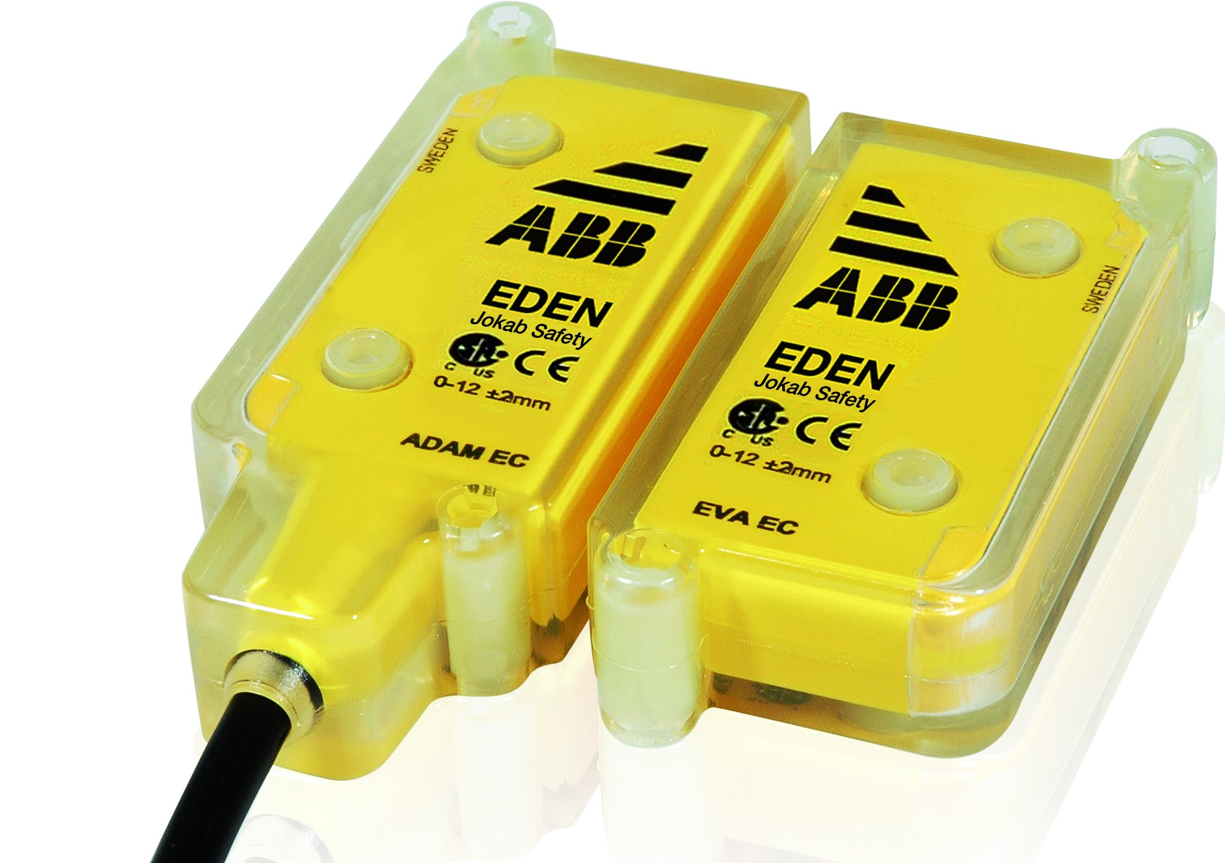 Eden is a non-contact safety sensor used on interlocked gates and hatches for non-magnetic, non-contact closure safety that has built in diagnostics and quick disconnect.  The maximum sensing distance is 15 mm ± 2 mm. Up to 30 Eden sensors can be connected in series to achieve the same safety level in the safety circuit. It is also possible to connect safety light beams and E-stops in the same safety circuit.(Click on photo to enlarge it)