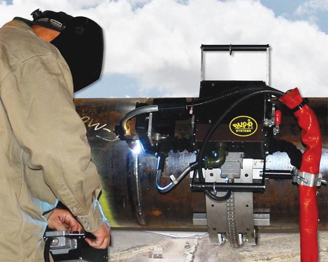 The Piper Plus is a self contained, digitally controlled, mechanized pipe welding system that produces high deposition rates with excellent weld quality to reduce pipe welding costs. Increased duty cycle and arc-on time provide significant improvements in productivity. All welding parameters, including voltage, wire feed speed, current, travel and oscillation are programmable and digitally controlled.(Click on photo to enlarge it)