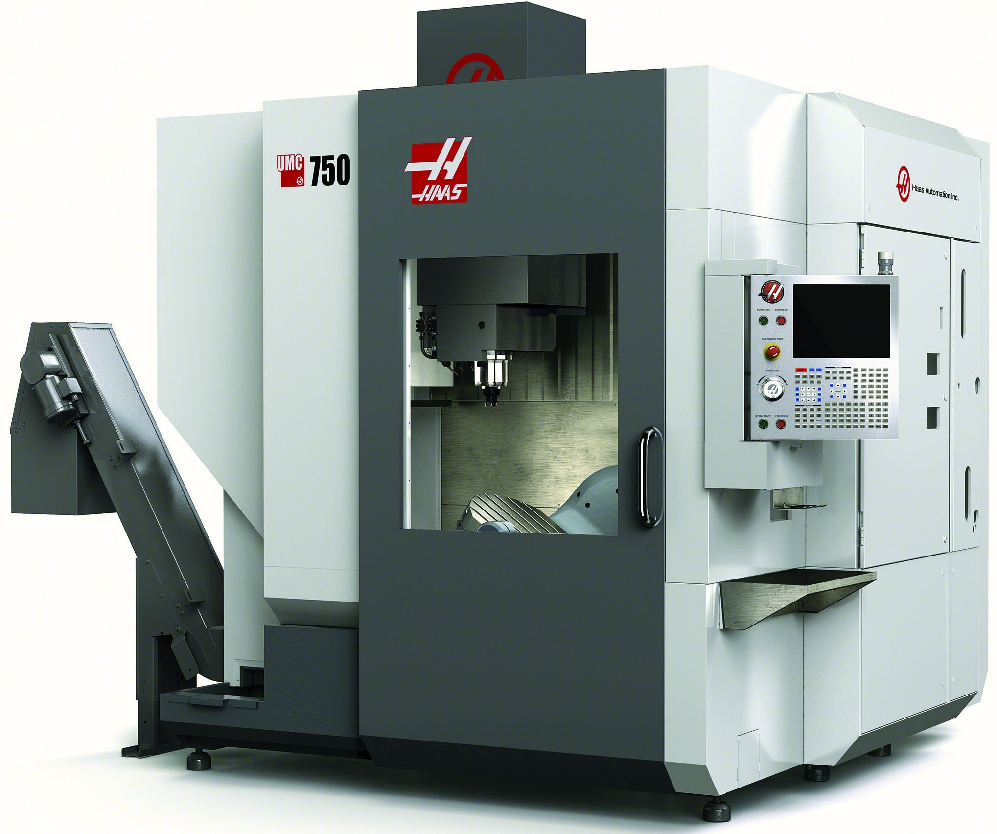 The UMC-750 is a versatile 5-axis 40-taper vertical machining center with 30 in x 20 in x 20 in travels and an integrated dual-axis trunnion table. The base machine is equipped with an 8,100 rpm inline direct-drive spindle (12,000 rpm optional), and comes standard with a 40+1 tool side-mount tool changer.(Click on photo to enlarge it)