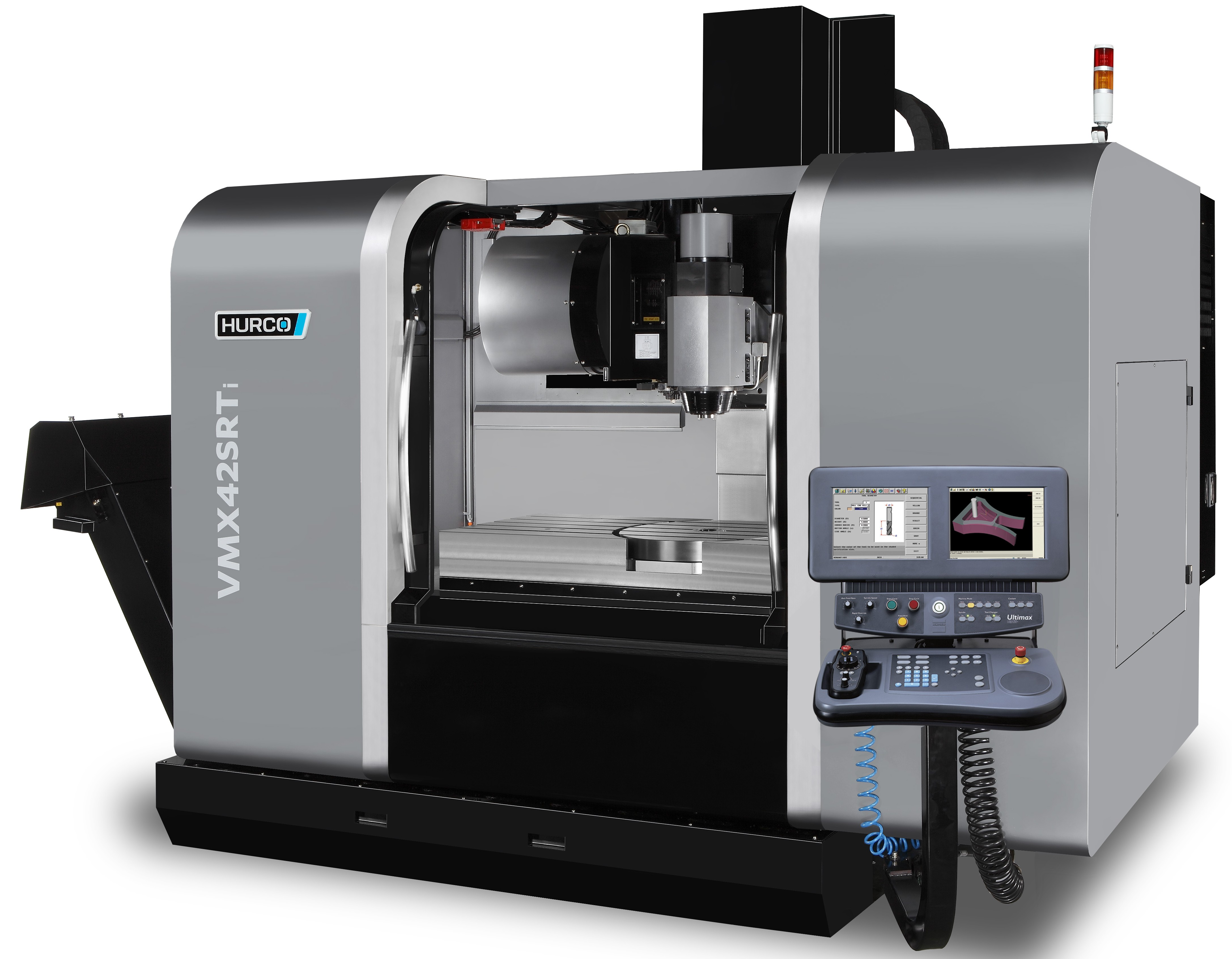 The 5-axis VMX42SRTi machining center has X/Y/Z travels of 42/24/24 in, a 12K integral spindle, a 40 station swing-arm automatic tool changer, X/Y/Z rapids of 1,378/1,378/1,181 ipm, and an integrated control that includes both conversational and NC programming modes.(Click on photo to enlarge it)