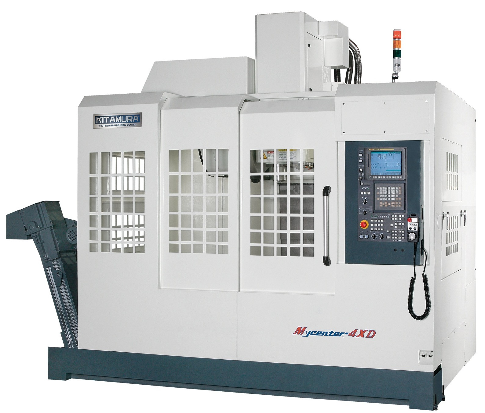 The Mycenter-4XD has high speed rapid feed rates of 1,417 ipm (X- and Y-axis), 1,181 ipm (Z-axis) inside a cavernous work envelope with a powerful 35 hp spindle for hard-to-machine materials.(Click on photo to enlarge it)