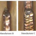 Figure 4: Stainless steel flux-cored welds made with various wire brands.(Click on photo to enlarge it)