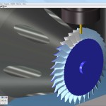 Among the many features of GibbsCAM 2013 are 5-axis options specialized for programming turbomachinery parts, such as this blisk (bladed disk) shown in process of toolpath verification with machine simulation.(Click on illustration to enlarge it)