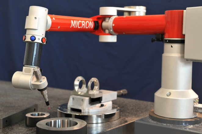 At the other extreme is the 5-axis Space MICRON arm, with a very small range with ultra high accuracy (4 micron+L/50 mm, 250 mm range) that approaches stationary CMMs. The MICRON is ideal for measuring small parts with precise tolerances. It is an articulated measurement arm with a revolutionary design and axis configuration that allows inspection of parts with great accuracy and accessibility, more quickly than any other stationary or portable CMM.(Click on photo to enlarge it)