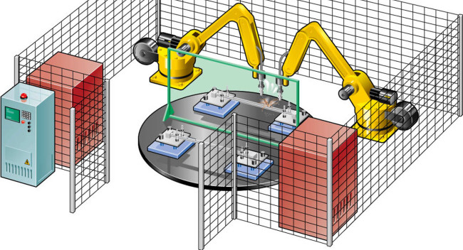 Figure 1. A typical robotic welding cell.(Click on illustration to enlarge it)