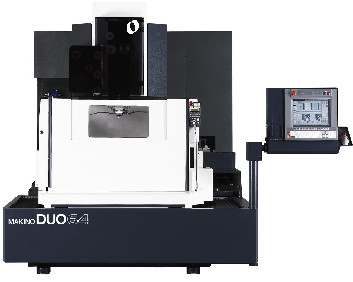 The DUO43 and DUO64 (shown) both feature a 20 percent reduction in footprint size compared to their Makino SP-series counterparts.(Click on photo to enlarge it)