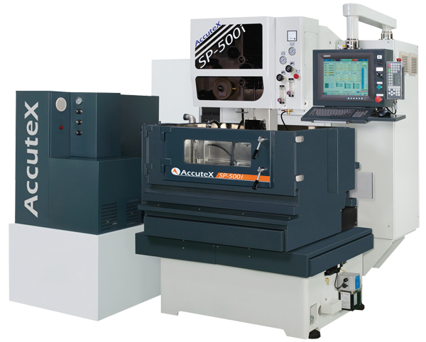 The AccuteX SP-500i wire EDM machine is equipped with an annealing, fully automatic wire threading system (AWT) with a tip disposal unit. Its unique intelligent servo-control wire-threading technology, together with multi-detectors, make it the world's fastest and most reliable (threading at wire break point) automatic wire threading system on the market. The design coupled with user-friendly features and price makes this machine extremely competitive in today's toughest manufacturing environments.(Click on photo to enlarge it)
