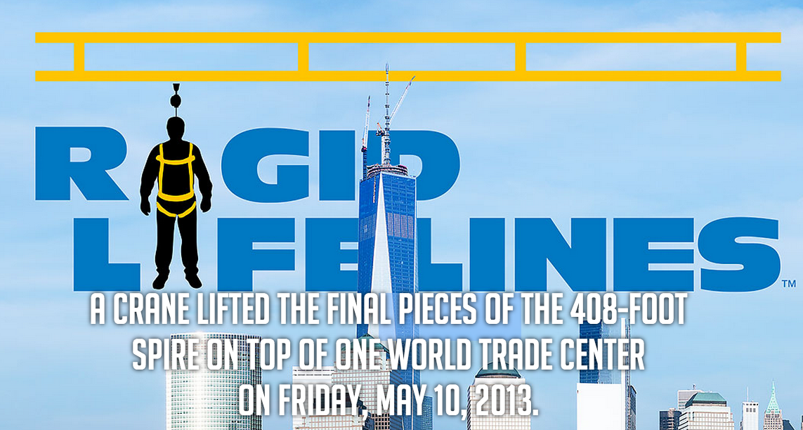 The right fall protection solution for the One World Trade Center project required an immense amount of customization.(Click on illustration to enlarge it)