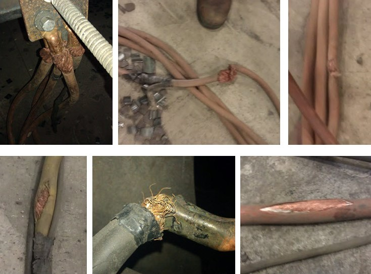 Selecting the proper size welding cables figure 6 examples of frayed and damaged welding cable greentooth Images