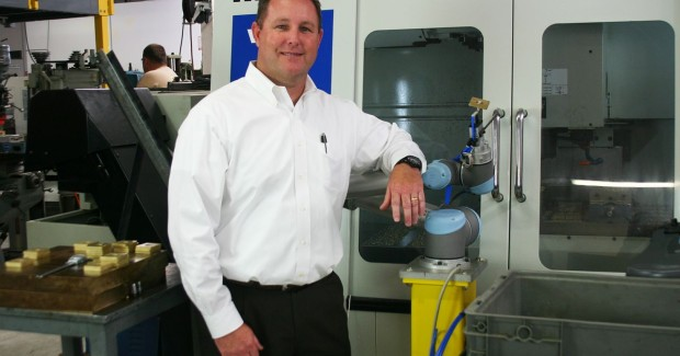 National Sales Manager with Universal Robots, Ed Mullen with the UR robot at RSS Manufacturing & Phylrich.(Click on photo to enlarge it)