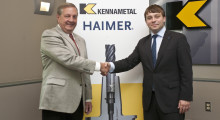 "John Tucker (L) and Andreas Haimer (R).  ""This agreement is a perfect fit because it confirms both Haimer and Kennametal as leaders in high-end innovative technologies for world manufacturing,"" says Andreas Haimer, director and member of the executive board of Haimer GmbH. (Click on photo to enlarge it)"