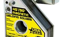 The revised welding squares feature a stronger magnetic holding force and include a large finger hole for easy setup and removal.(Click on photo to enlarge it)