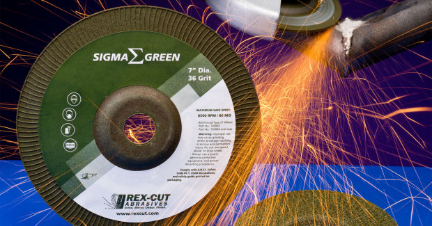 Virtually iron-free Rex-Cut® Sigma Green Premium Grinding Wheels contain only 0.035 percent iron, with less than 0.1 percent iron, chlorine, and sulfur combined. Designed for use with right angle grinders, they provide 50 percent faster cutting than aluminum oxide and 20 percent cooler cutting, claims the firm.