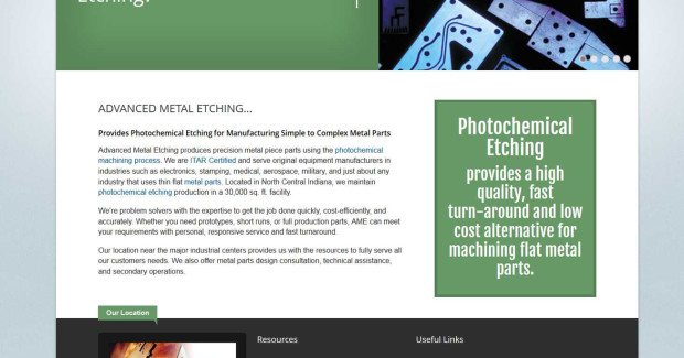The new site offers the company's photochemical etching product, capabilities and services information in user-friendly drop-down menus.
