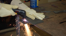 The plasma cut cleanly and quickly through 1/8 inch metal, just as simple as drawing a line.