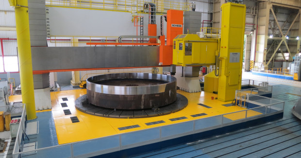 Alstom Brazil manufactures large-scale components for turbines on 4-axis vertical turret lathe supplied by Schiess.