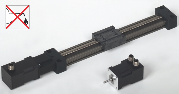 The new compact, light and quiet DryLin® E SAW-0630 from igus® now available with stepper motor.