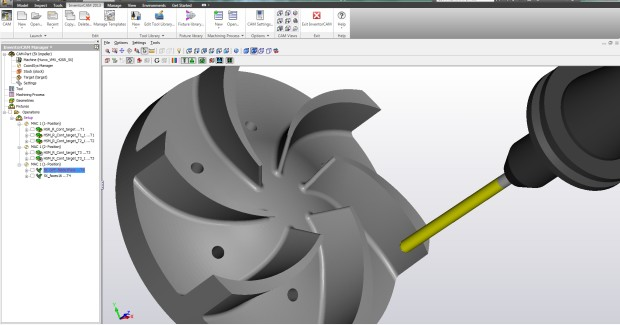 Figure 4. InventorCAM Sim 5X has three new powerful operations, while the new Multi-blade machining operation easily handles impellers and bladed disks with multiple strategies for efficiently roughing and finishing every part of these complex shapes.