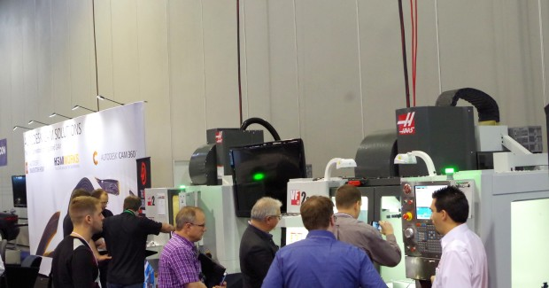 Haas machines next to the InventorCAM booth.