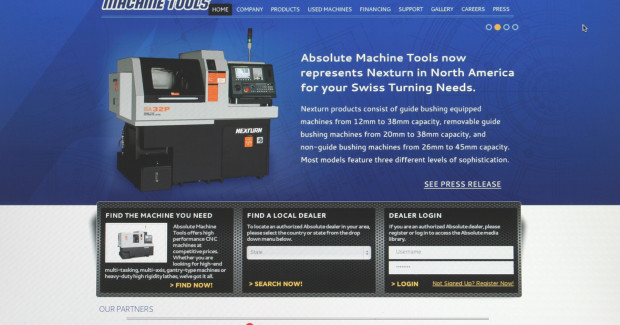 Through the website, users can quickly locate the nearest authorized Absolute dealer and also request literature, machinery quotes, and financing information.