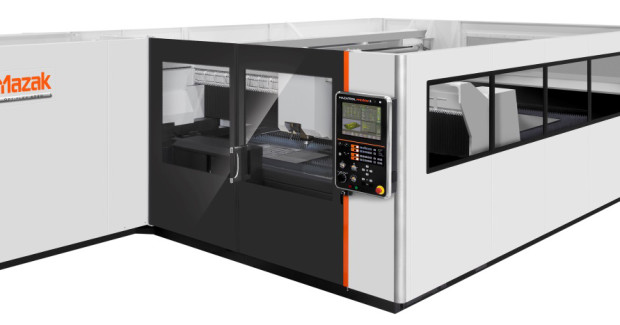 Figure 8. A Mazak Tekmag automated storage/retrieval system illustrated here with an Optiplex 3015 fiber laser-cutting system.
