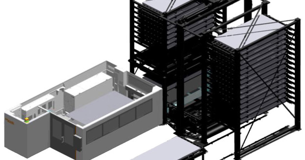 Figure 8-1. Optiplex cutting systems can be connected to Tekmag material handling systems operated with Mazak Line Controller software to minimize cutting machine downtime and significantly increase efficiency. Tekmag also carries compact vertical systems that automatically and quickly move large volumes of material while occupying minimal space.