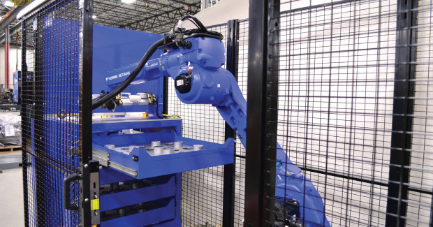 Figure 11. Flexible cells such as LoadWorld include a robot plus many options for grippers, conveyors, part positioners, pallet floor locators, part cleaners and markers that increase part quality through consistency in the load/unload process and reduce lifting to improve worker safety with fewer repetitive motion injuries.