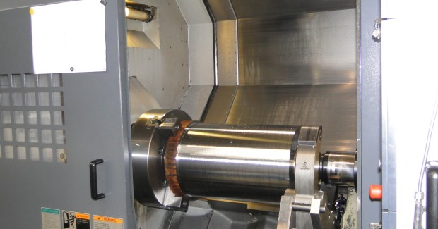 A heavy duty turning operation on the NLX2500 SY, which increased capacity to include the machining of Variball elliptical roller products that vary in size from 1.5 in to 4.5 in diameter. These help other downhole tools to negotiate highly deviated sections of the wellbore and travel further down than would otherwise be possible. The NLX2500 SY can machine the Variball and also explore the possibilities of one hit machining on other products. Its machine size and the subspindle specification make it ideal for these operations.