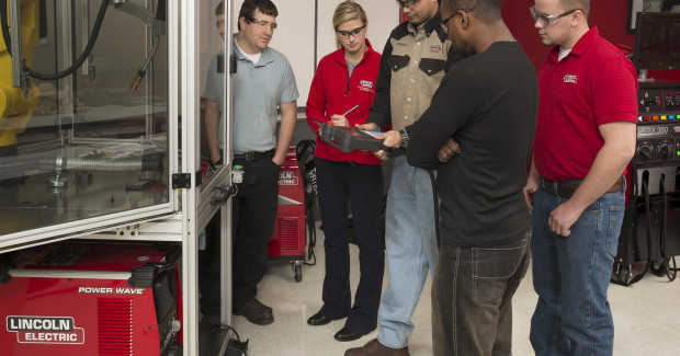 The Robotic Welding Education Cell from Lincoln Electric is a complete, mobile welding training system that demonstrates, develops and teaches proper techniques, programming and robotic welding skills.