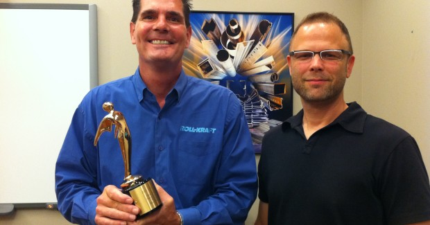 The award, in the Online Video category, was presented to Chuck Gehrisch, Roll-Kraft president, for the company's recent video regarding the floating flange roll produced by the company.