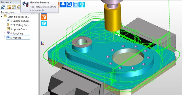 Figure 8. Edgecam 2014 R1 Machine Feature command interactively selects a feature on a component, which is then machined. The user can elect to only rough, finish, or rough and finish, with full control over their manufacturing order without the need to apply full automation.