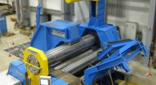The supporting yoke clamps the top and bottom rolls and compensates for deflection by applying counter pressure to the rolls. This enables the ability to install a top roll with a smaller diameter, which can then allow bending of smaller inner pipe diameters.  Camber adjustments at the rolls are no longer necessary as bending capacity turns into pre-bending capacity, eliminating the need for predefined production programs. This increases the machine's flexibility and reduces change-over times for exchange rolls. Companies can now form plates without limitation, from smaller thicknesses to thicknesses of up to 150 mm.
